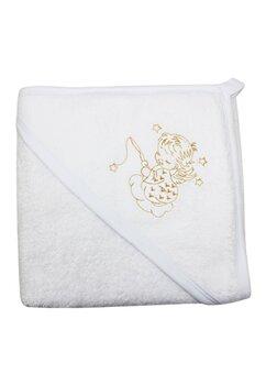 Prosop de baie cu gluga, alb cu ingeras, 80x100 cm