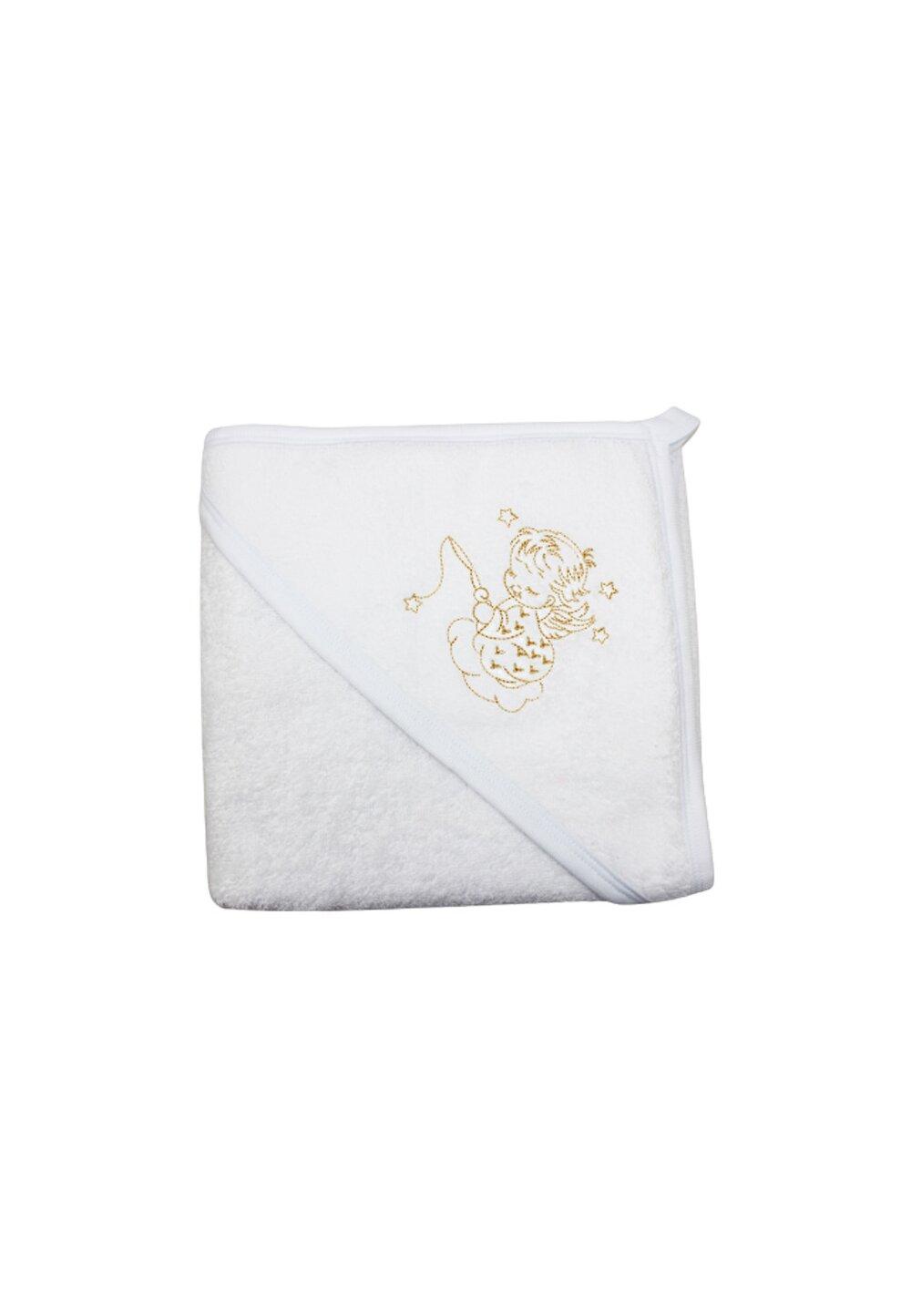 Prosop de baie cu gluga, alb cu ingeras, 80x100 cm imagine