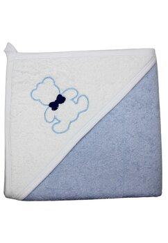 Prosop de baie cu gluga, albastru, Happy bear, 80 x 100 cm