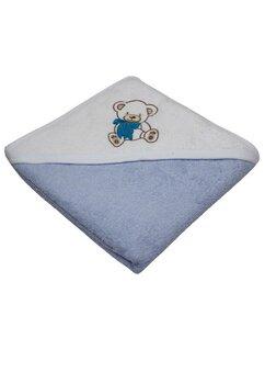 Prosop de baie cu gluga, albastru, ursulet cu fundita, 80 x 100 cm