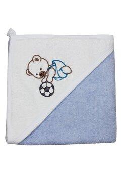 Prosop de baie cu gluga, albastru, ursulet cu minge, 80 x 100 cm