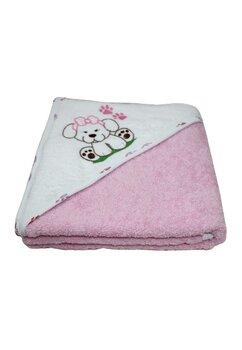 Prosop de baie cu gluga, catelus cu fundita, roz  80 x 100 cm