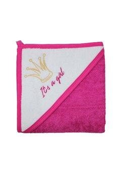 Prosop de baie cu gluga, It' s a girl, roz inchis, 80 x 100 cm