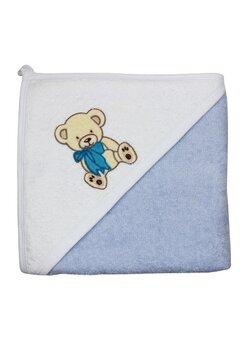 Prosop de baie cu gluga, ursulet cu fundita albastra, 80 x 100 cm