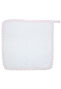 Prosop de maini alb cu buline roz, 30x30 cm