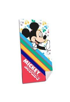 Prosop de plaja, Mickey Mouse, cu dungi colorate, 140x70cm