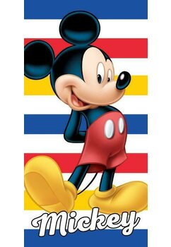 Prosop plaja, Mickey, albastru cu dungi rosii,  70x140 cm