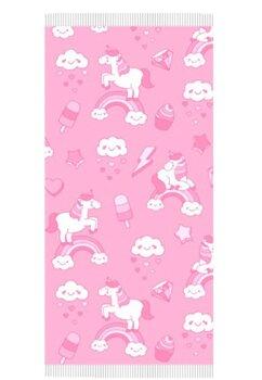 Prosop plaja, Unicorn Rainbow, roz , 140 x 70 cm
