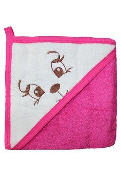 Prosop bumbac, roz inchis, catelusa, 80 x 100 cm