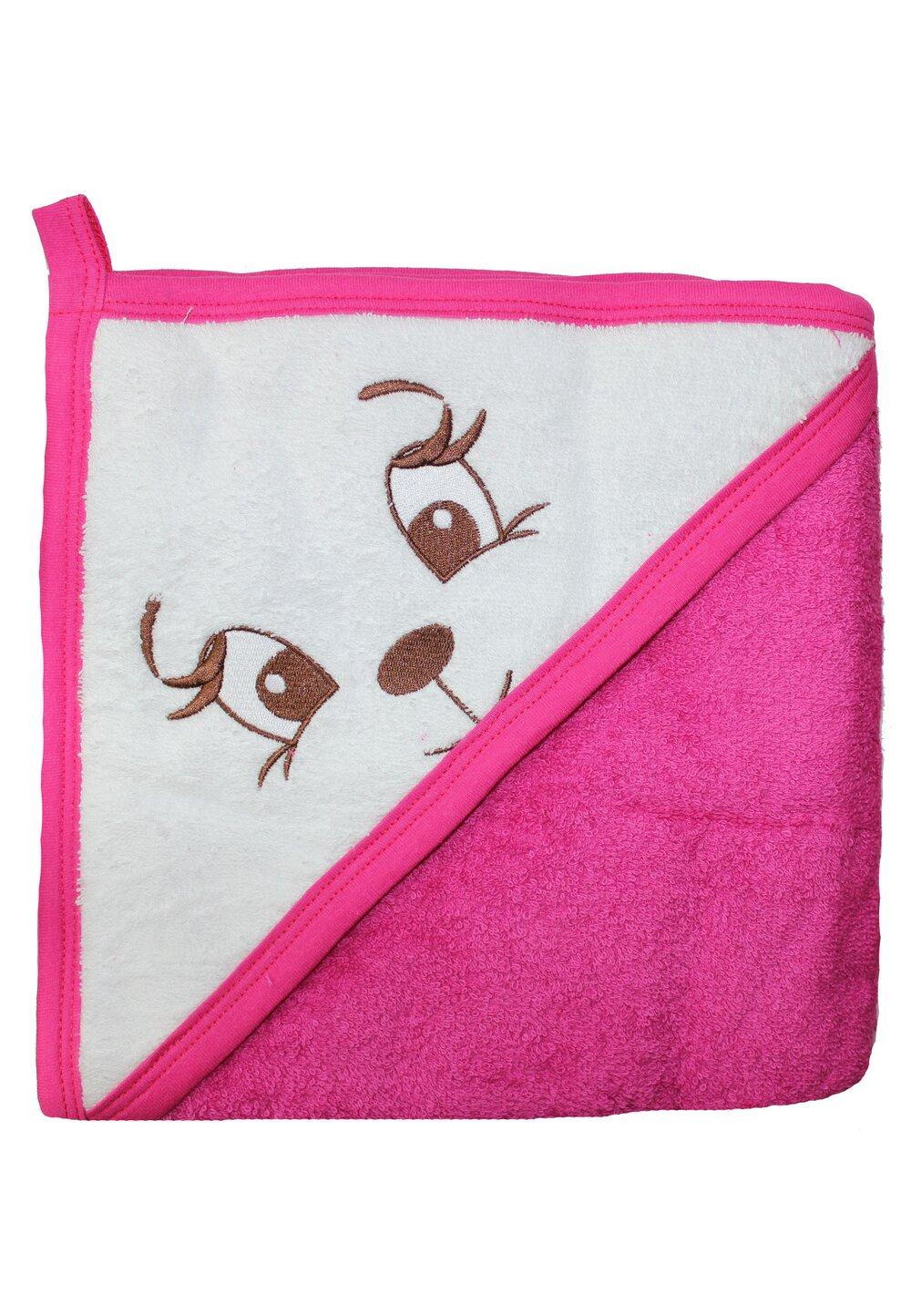 Prosop bumbac, roz inchis, catelusa, 80 x 100 cm imagine