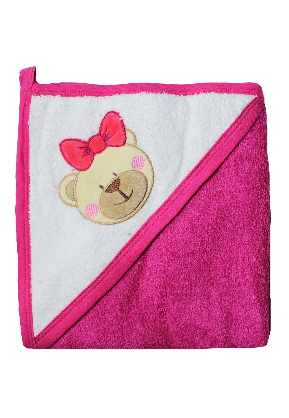 Prosop bumbac, roz inchis, ursulet, 80 x 100 cm imagine