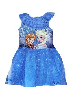 Rochie, catifea, Anna si Elsa, albastra