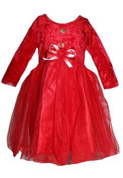 Rochie catifea, maneca lunga, Craciunita, rosie