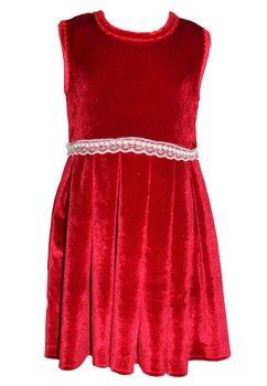 Rochie catifea, rosie, cu bolero din blanita