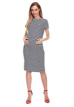 Rochie gravide, alba cu dungi bluemarin