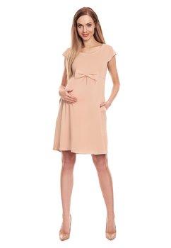 Rochie gravide, crem cu fundita