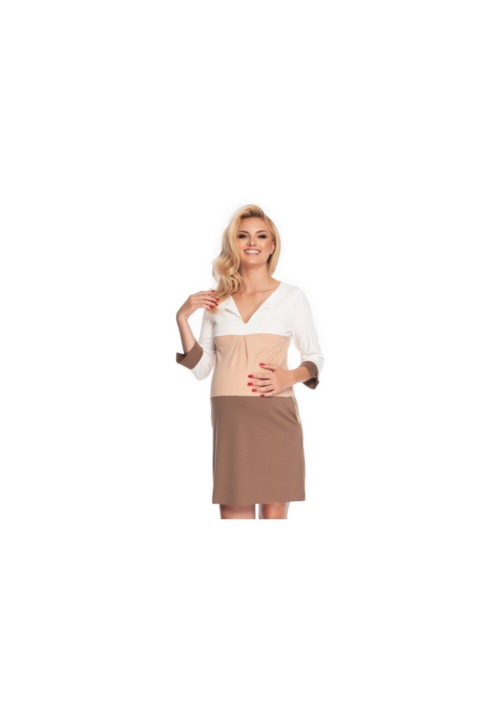Rochie gravide, maneci 3/4, cappuccino imagine