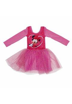 Rochie maneca lunga din poliester, cu imprimeu, Minnie cu floricele, roz