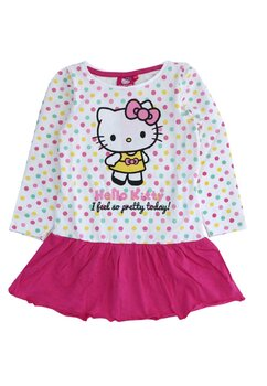 Rochie maneca lunga, I feel so gretty today, Hello Kitty, roz