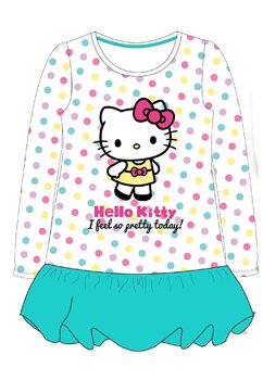 Rochie maneca lunga, I feel so gretty today, Hello Kitty, turcoaz