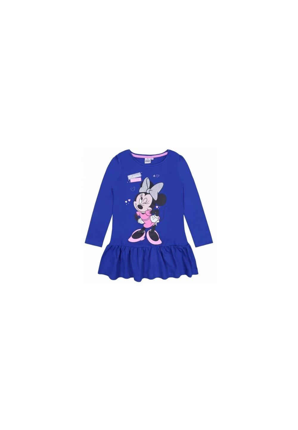 Rochie, maneca lunga Minnie mouse, albastra