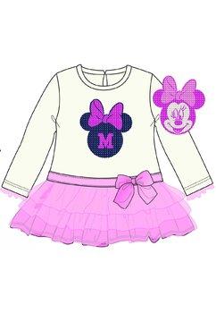 Rochie maneca lunga, Minnie Mouse, roz cu alb