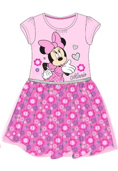 Rochie maneca scurta, roz cu floricele, Minnie