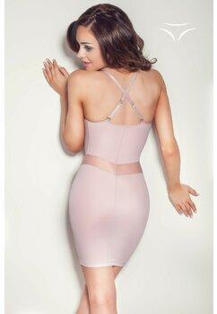 Rochie modelatoare, cu bretele, Grace, roz prafuit