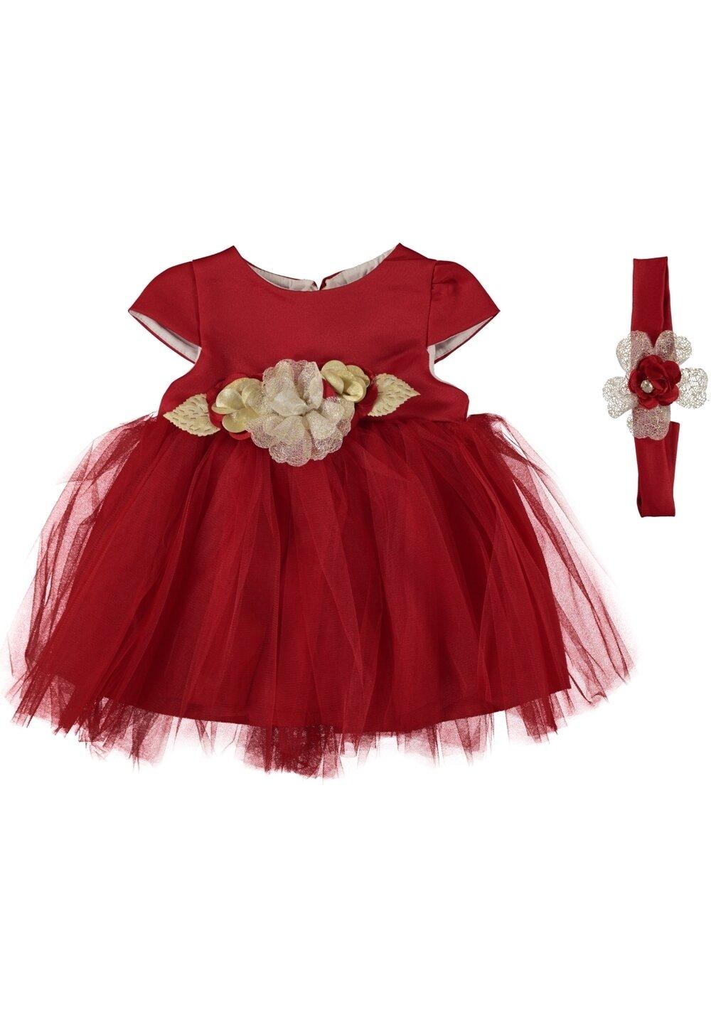 Rochie, rosie cu tull si floricele aurii imagine