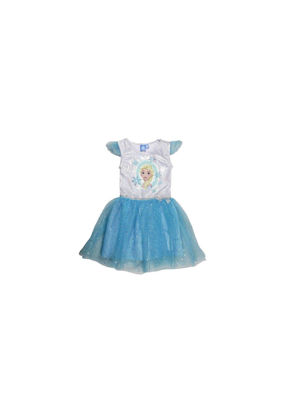 Rochie tutu Elsa, albastra cu argintiu
