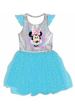 Rochie tutu Minnie, albastra cu sclipici argintiu