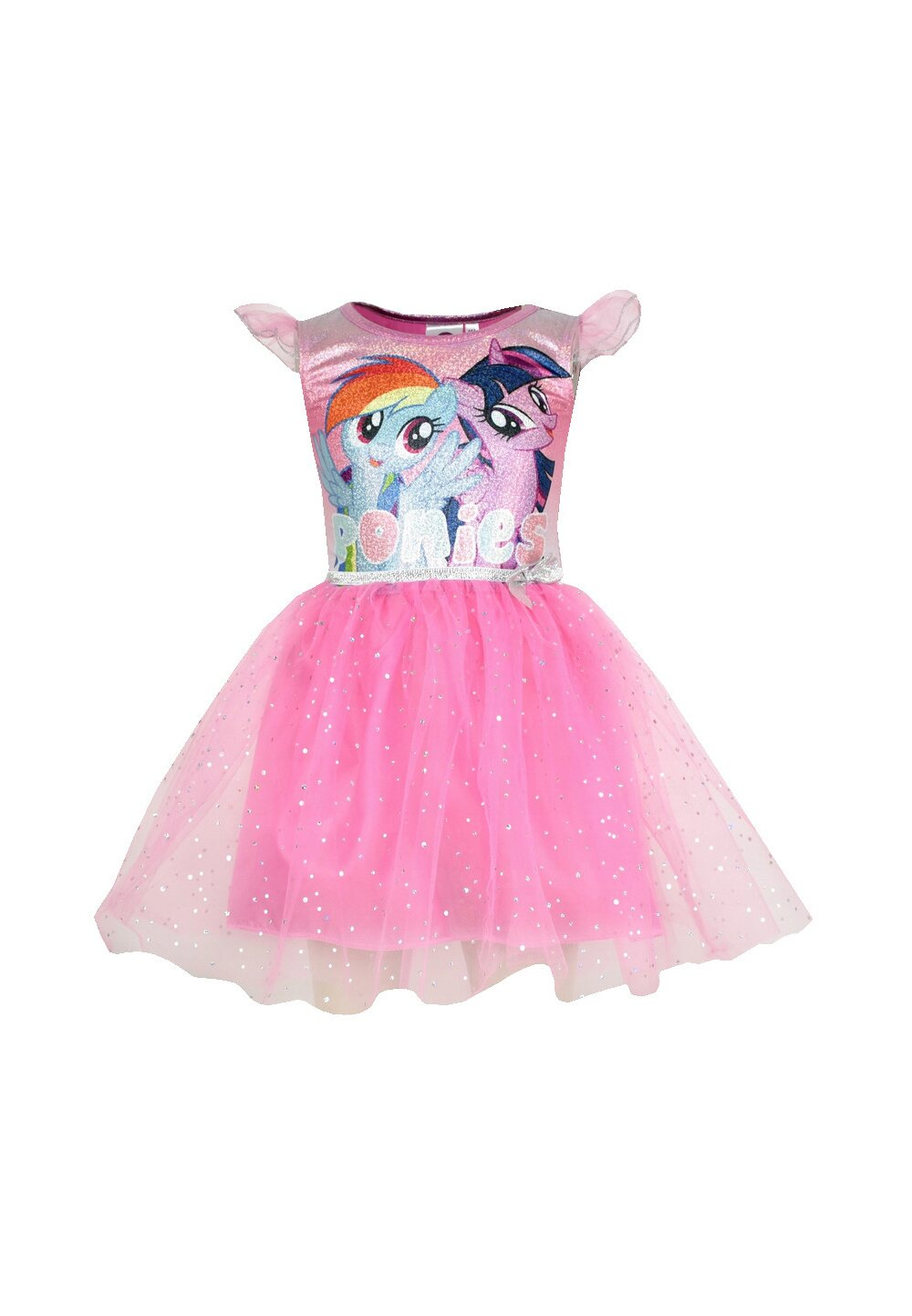 Rochie tutu Ponies, roz cu sclipici