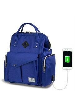 Rucsac pentru mamici, cu mufa USB, albastru