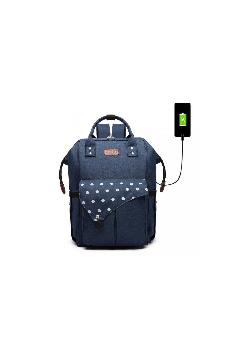 Rucsac pentru mamici, cu mufa USB, bluemarin cu buline mari imagine