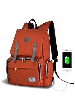 Rucsac pentru mamici, cu mufa USB, Maya, portocaliu
