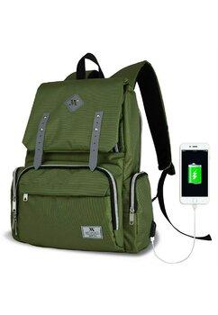 Rucsac pentru mamici, cu mufa USB, Maya, verde