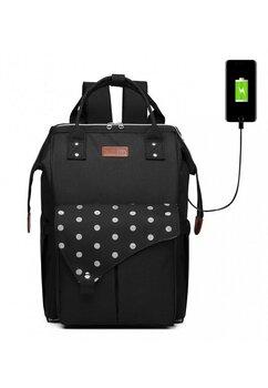 Rucsac pentru mamici, cu mufa USB, negru cu buline mari