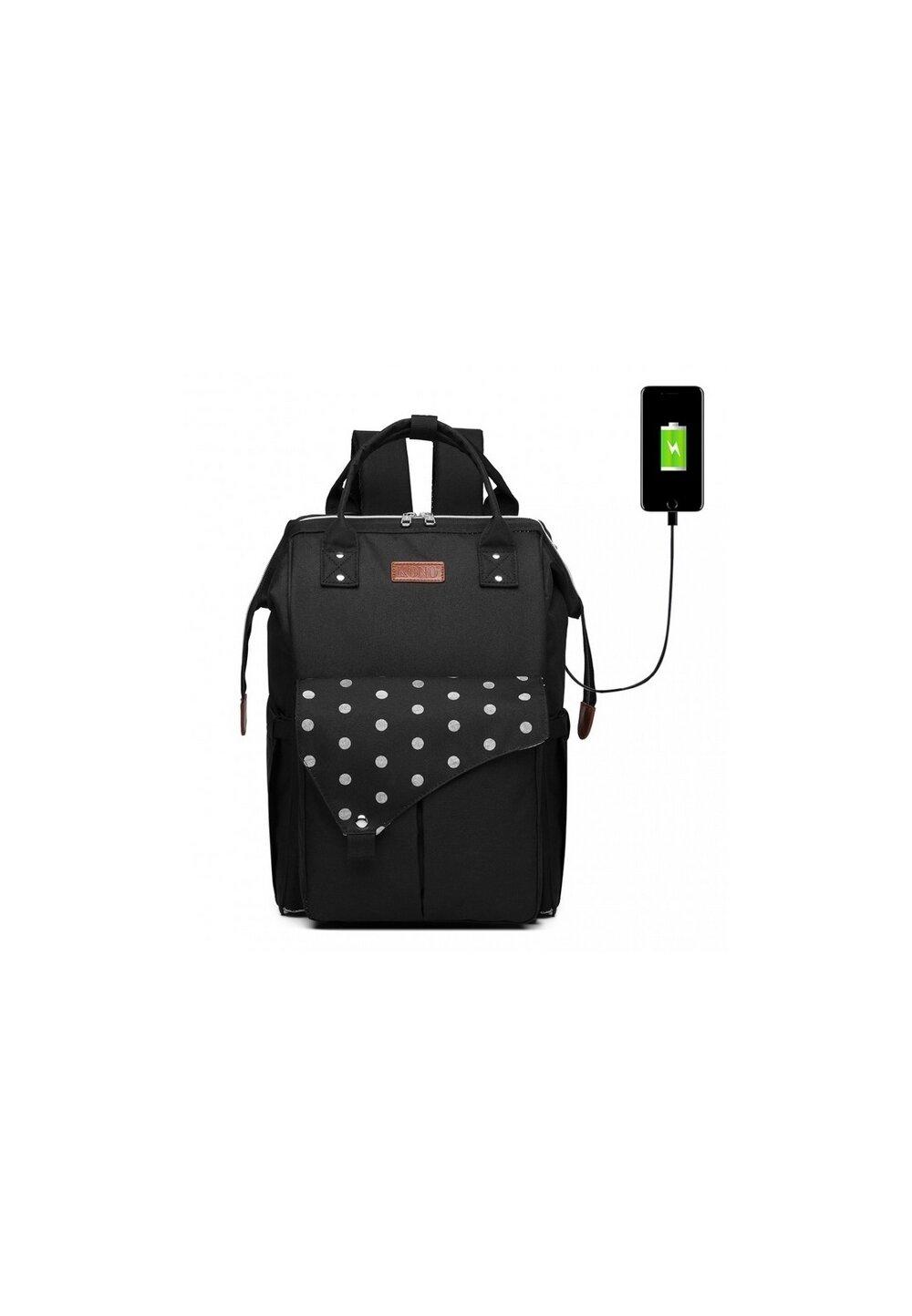 Rucsac pentru mamici, cu mufa USB, negru cu buline mari imagine