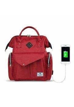 Rucsac pentru mamici, cu mufa USB, rosu