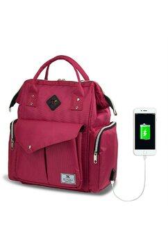 Rucsac pentru mamici, cu mufa USB, roz