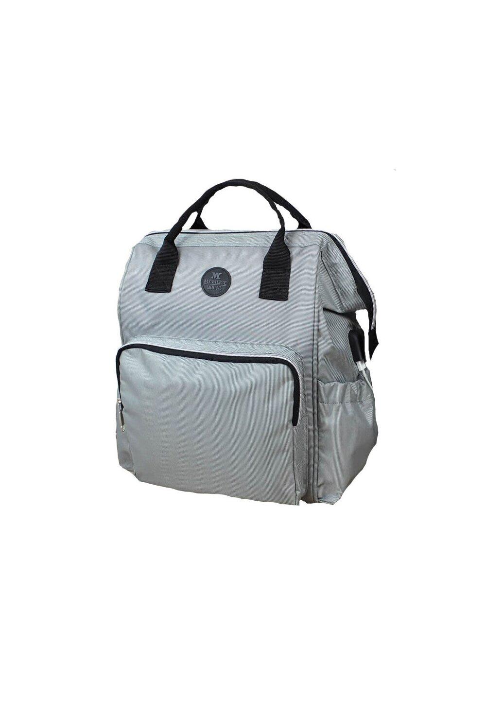 Rucsac pentru mamici, cu mufa USB, Smart Bag, gri deschis