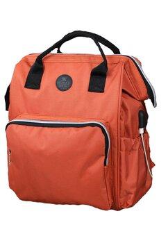 Rucsac pentru mamici, cu mufa USB, Smart Bag, portocaliu