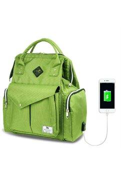 Rucsac pentru mamici, cu mufa USB, verde