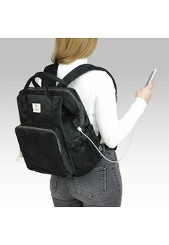 Rucsac pentru mamici din catifea, cu mufa USB, Anne, negru