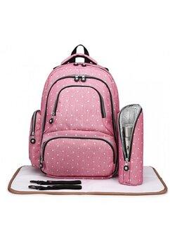 Rucsac Work, pentru mamici, roz cu buline
