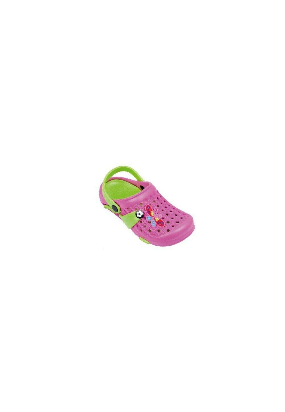 Saboti pentru plaja, Butterfly, roz cu verde imagine