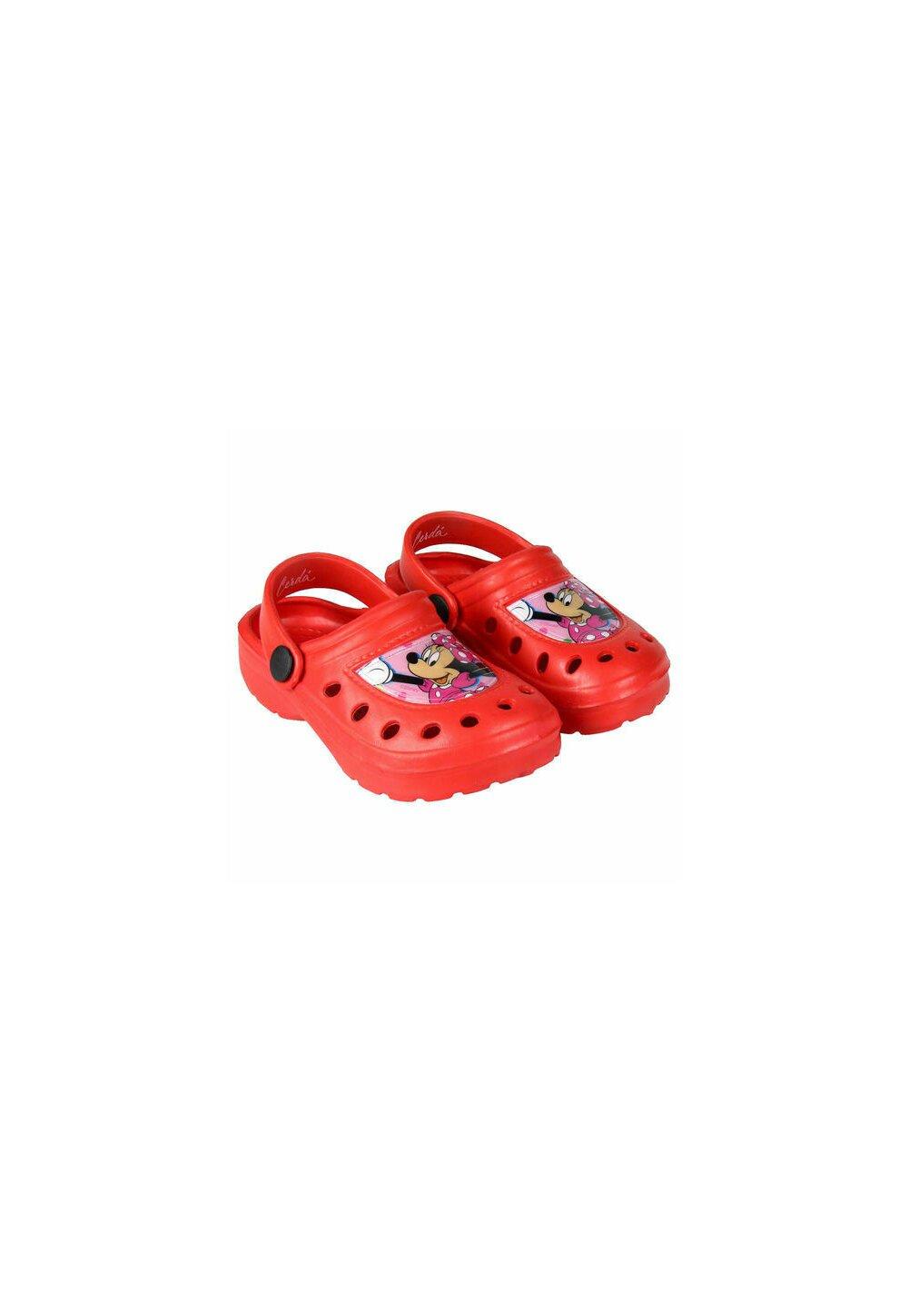 Saboti pentru plaja, Minnie Mouse cu fundita, rosii imagine