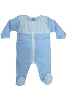 Salopeta bebe, albastru deschis cu dungi albe