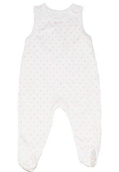 Salopeta bebe maieu bumbac alb cu buline