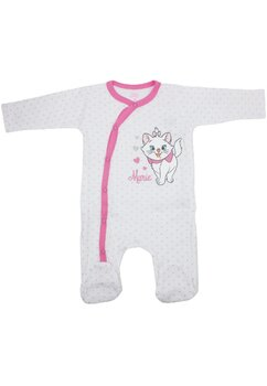 Salopeta bebe, Marie, alba cu buline roz